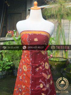 Sarung Batik Tulis Motif Pesisir Merah Jingga