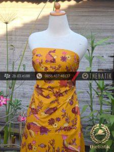 Batik Tulis Cirebon Motif Ikan Pink Latar Kuning