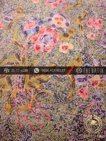 Kain Batik Pesisiran Motif Buket Hijau Ungu