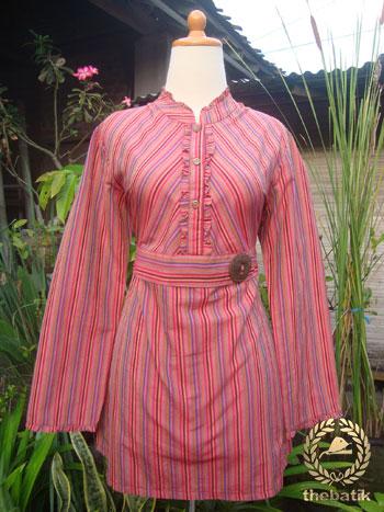 Jahit Baju Batik Wanita - Blouse Lurik