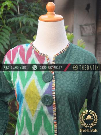 Model Baju Batik Kerja Wanita – Hijau Ikat