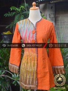 Model Baju Batik Kerja Wanita – Jingga Ikat