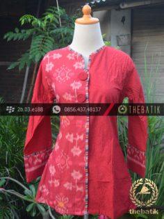 Model Baju Batik Kerja Wanita – Merah Ikat