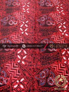 Kain Batik Cap Tulis Motif Ceplok Kombinasi Merah