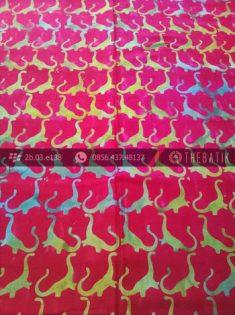 Kain Batik Modern Motif Dinosaurus Merah