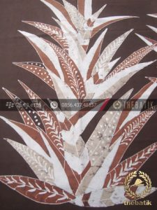 Kain Batik Warna Alam Tulis Motif Daun Pandan Coklat