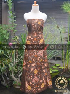 Bahan Kemeja Batik Sutera Motif Floral Coklat Jambon