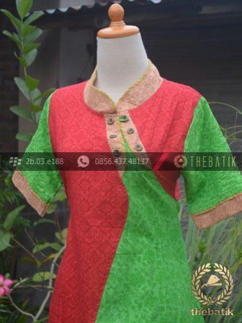 Model Baju Batik Wanita Kombinasi Merah Hijau Emboss