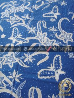 Batik Tulis Warna Alam Motif Floral Biru Indigo