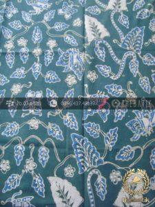 Batik Tulis Warna Alam Motif Floral Daun Biru