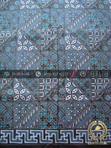 Bahan Baju Batik Pekalongan Motif Tambal Hijau Tosca
