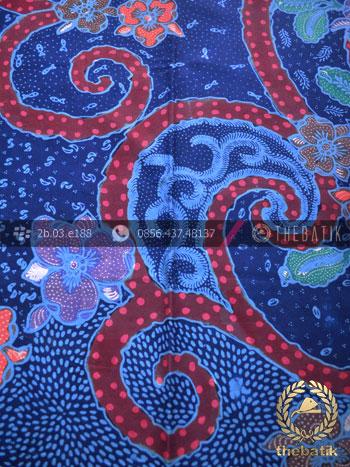Bahan Baju Batik Kontemporer Biru Merah Floral