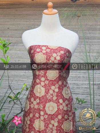 Bahan Baju Batik Sutera Kembang Maroon Emas