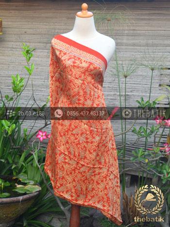 Bahan Kain Batik Sutera Floral Jingga Orange
