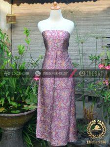 Kain Batik Sutera Motif Floral Ungu