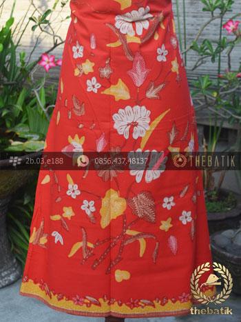 Kain Batik Tulis Motif Boketan Merah Pesisiran