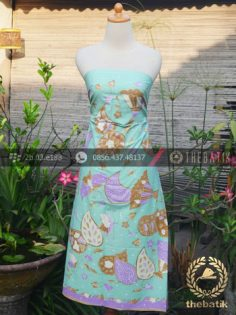 Bahan Baju Batik Pastel Motif Kipas Hijau Ungu