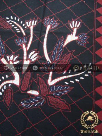 Kain Batik Tulis Jogja Motif Buketan Jaring Latar Hitam