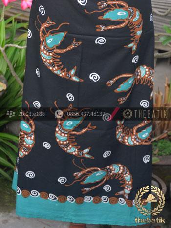 Bahan Baju Batik Tulis Motif Udang Latar Hitam