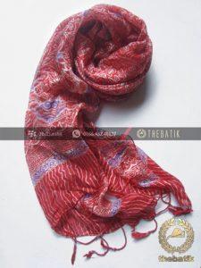 Batik Shawl Indonesia Motif Floral Merah