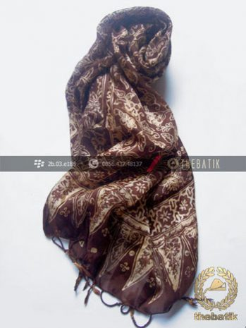 Selendang Batik Murah Grosir Warna Coklat Tua