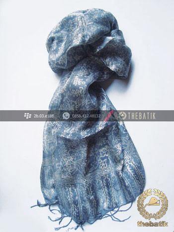 Shawl Corak Batik Sutera Warna Abu-Abu