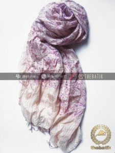 Selendang Batik Sutra Warna Pastel Ungu