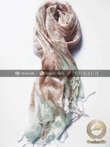 Selendang Batik Sutra Warna Pastel Coklat