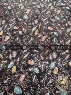 Bahan Batik Remukan Coletan Floral Daun Hitam