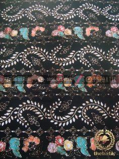 Bahan Batik Remukan Coletan Floral Ukel Hitam