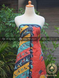 Sarung Batik Tulis Motif Tumpal Buketan Pesisiran Jingga