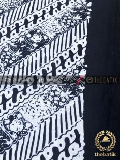 Bahan Baju Batik Hitam Putih Motif Lereng Tumpal Polos