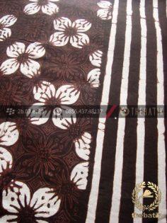 Bahan Baju Batik Motif Kawung Prabu Hitam Garis