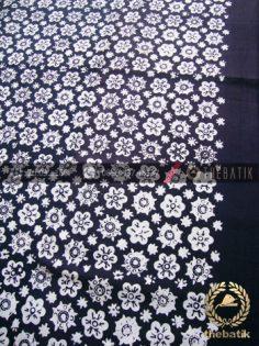 Bahan Baju Batik Hitam Putih Ceplok Kembang Tumpal Polos