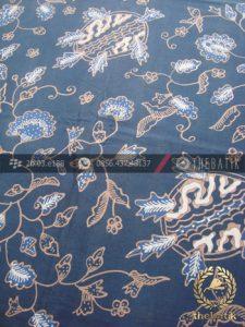 Batik Tulis Pewarna Alami Motif Ceplokan Floral Indigo