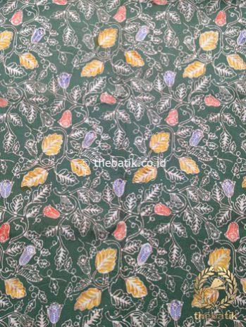 Kain Batik Coletan Motif Floral Kehijauan
