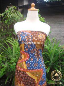Kain Batik Katun Jepang Motif Abstrak Biru Kuning
