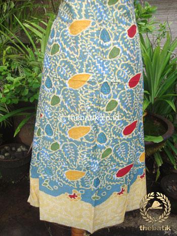 Kain Batik Katun Jepang Motif Floral Biru Pastel Coletan