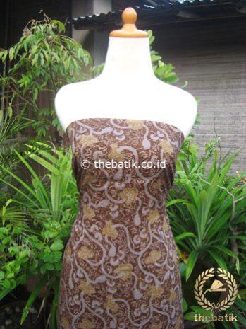 Kain Batik Katun Jepang Motif Floral Coklat