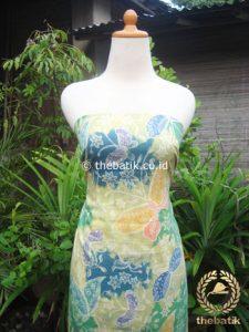 Kain Batik Katun Jepang Motif Kupu-Kupu Hijau Gradasi Biru