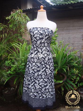 Kain Batik Katun Jepang Motif Bunga Tropis Hitam Putih