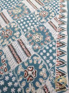 Kain Batik Tulis Warna Alam Indigo Motif Ceplokan