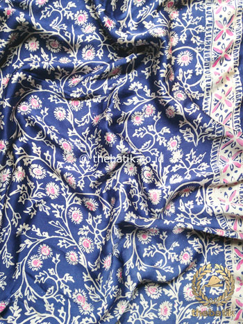 Kain Bahan Baju Batik Sutera Kebaya Bawahan Rok Atasan Biru Tua