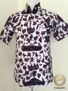 Kemeja Batik Tulis Pendek Wahyu Tumurun Putih
