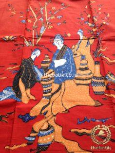 Bahan Kain Batik Tulis Kumpeni Puteri Cina Oriental Merah