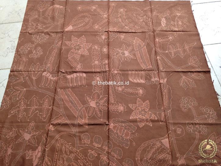 Kain Batik Tulis Warna Alam Motif Buketan Coklat