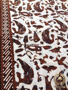 Bahan Kain Batik Tulis Kombinasi Motif Semen Kecil Latar Putih
