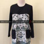 Jahit Batik Model Blus Batik Klasik Kombinasi Saku Polos Hitam