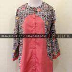 Jahit Batik Model Blus Batik Modern Kombinasi Polos Pink