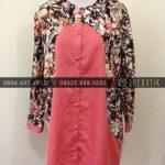 Jahit Batik Model Blus Batik Modern Kombinasi Polos Pink Kancing